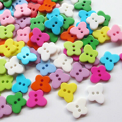 50/100pcs Butterfly Plastic Button Sewing Buttons Craft Doll Kid Appliques