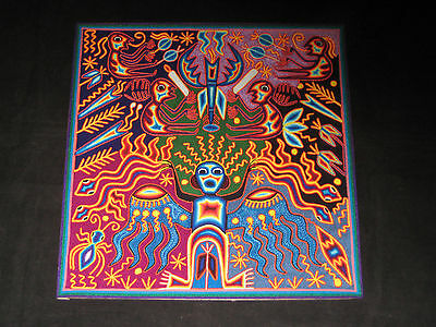 Stunning Huichol Indian Yarn Painting Mexican Folk Art Bessings for the God's