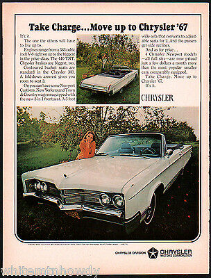 1967 CHRYSLER 300 White Convertible Classic Car Photo AD Vintage Advertising