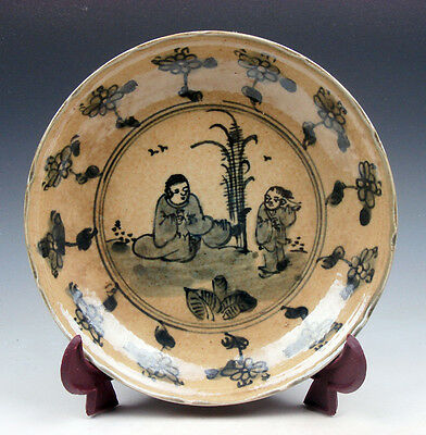 Antique Chinese Porcelain Plate *2 Ancient Figurines Scenery Flowers* #01041707