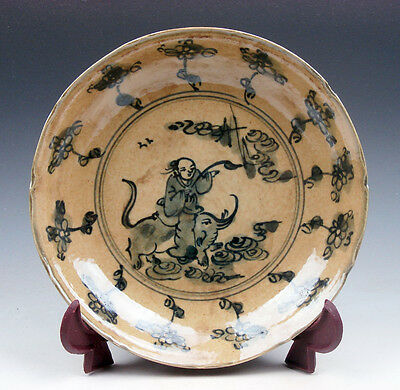 Antique Chinese Porcelain Plate *Ancient Elephant Rider Flowers* #01041706