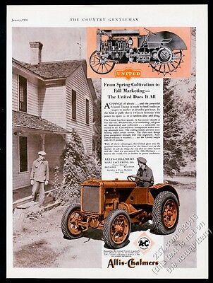 1930 Allis-Chalmers United tractor photo and diagram vintage print ad