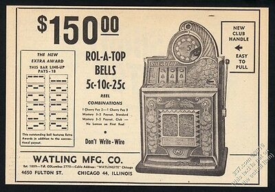 1948 Watling Rol-A-Top Bell slot machine photo vintage trade print ad