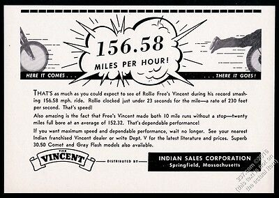 1951 Vincent motorcycle Rollie Free speed record theme vintage print ad