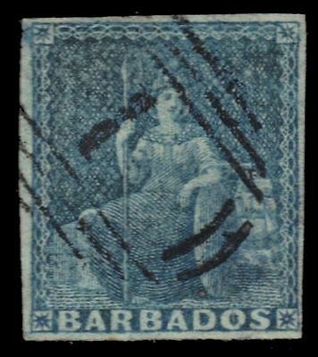 "BARBADOS 2a (SG3) - Allegory of Britannia ""Blue on Blued Paper"" (pa55754)"