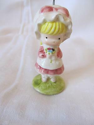 Joan Walsh Anglund Porcelain Christmas Ornament Little Girl w/Bouquet 1969