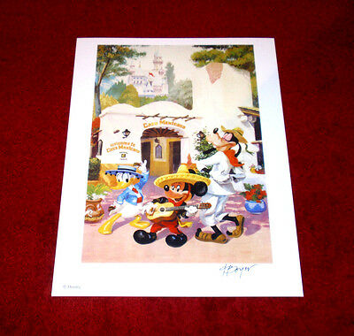 Nice Boyer Disneyland Casa Mexicana Mickey, Goofy, And Donald Signed Print