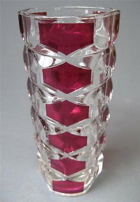 Vintage deco/retro Bohemia-style art glass vase France flashed red