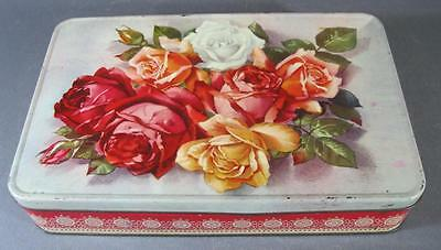 Shabby vintage Griffiths toffee/sweets tin chic roses motifs