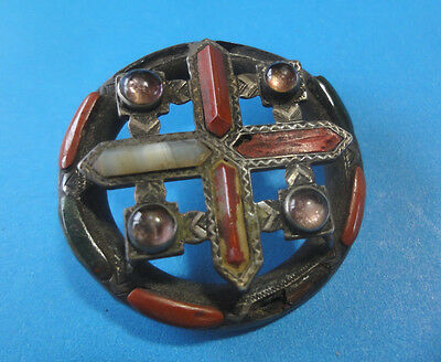 Unique Antiique SS Celtic Brooch With Cross, Agates & Amethyst For Restoration