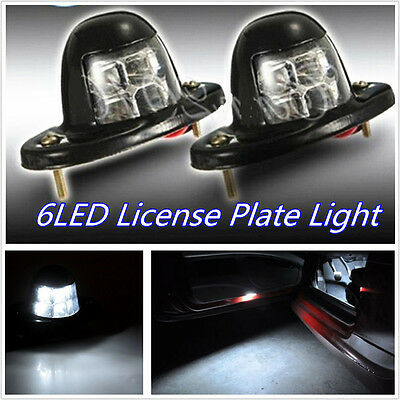 2 Pcs Waterproof  DC12V 6-LED White Car Off-Road License Plate Lights Door Lamps