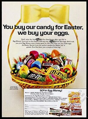 1972 M&Ms Mars bar 3 Musketeers Munch Easter basket candy photo vintage print ad