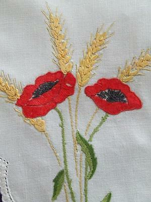 Hand Embroidered Vintage Centre Red Poppies and Wheat Stalks Crocheted Edging