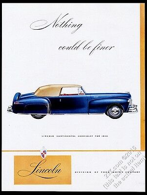 1946 Lincoln Continental Cabriolet blue car vintage print ad