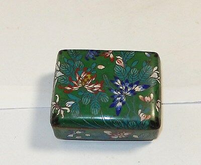 Old Chinese Cloisonne Green Enamel Flower Humidor Footed Jar Box