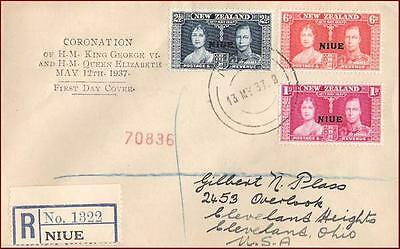 Niue - 1937 Coronation Kgvi 3V - Fdc - Registered