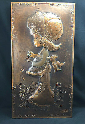 Vintage Copper Relief Wall Hanging Art Little Girl With Flower