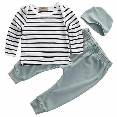 US STOCK Baby Boy Girl Long Sleeve Tops +Long Pants Hat 3PCS Outfits Set Clothes