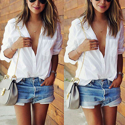 USA Fashion Womens Ladies Casual Loose Tops Long Sleeve T-Shirt Summer Blouse