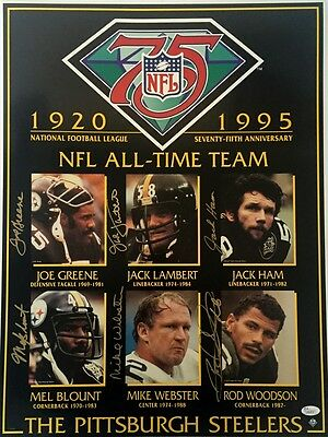 Steelers Legends RARE 75th Anniv Poster 18x24 Photo JSA 6 Autos Webster Lambert
