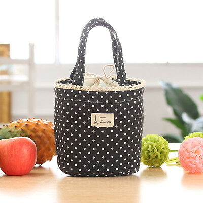 Thermal Insulated Lunch Box Cooler Bag Tote Bento Pouch Lunch Container BK