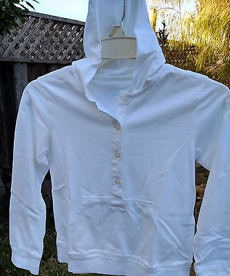 Sweatshirt kids size 7-8 white hoodie with button front by land's end knit new!