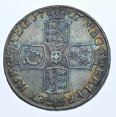 1707 Crown, Plain Angles, British Silver Coin From Anne F/vf