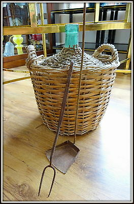 Antique Hand BLOWN GLASS Pale Green DEMIJOHN Carboy Bottle Weaved Wicker Case
