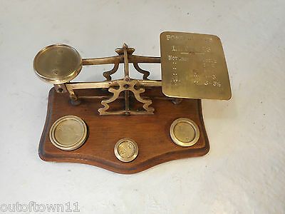 Antique  Brass Postal Scales , Letter Scales + Weights  ref 2615