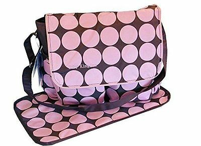 Large Polka Dots Nappy Diaper Changing Bags Set Pink Baby Kingdom