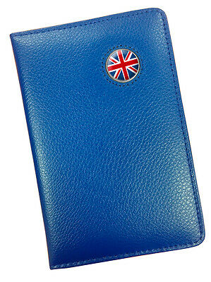 Union Jack Uk Crested Blue Leather Scoremaster Golf Scorecard Holder