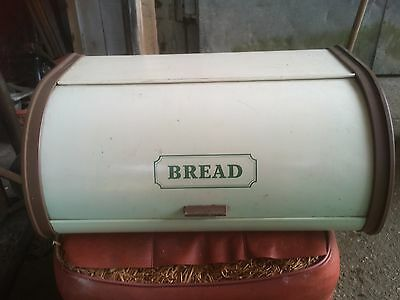 Vintage Retro Old Metal Bread Bin 70's White Brown