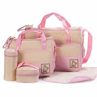 6Pcs Baby Nappy Changing Bags Set Mummy Waterproof Diaper Hospital Bag PINK