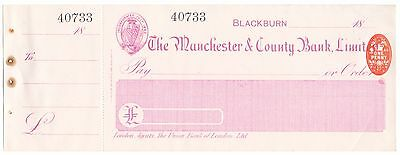Unused Cheque,The Manchester & County Bank Limited,Blackburn 1898        (P4)