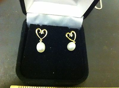 Gilt Solid Silver 925 Heart And Pearl Earrings Free World Postage