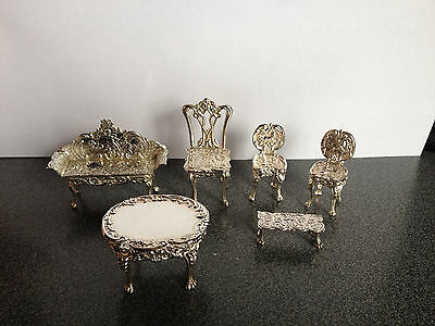 hallmarked solid silver miniature dolls house furniture