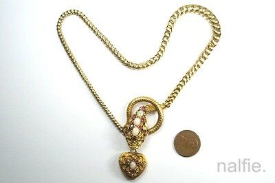 ANTIQUE ENGLISH VICTORIAN 15K GOLD OPAL RUBY SNAKE NECKLACE w/ HEART DROP c1860