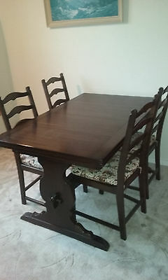 Ercol Extendable Refectory Table And Four Chairs (Vintage)