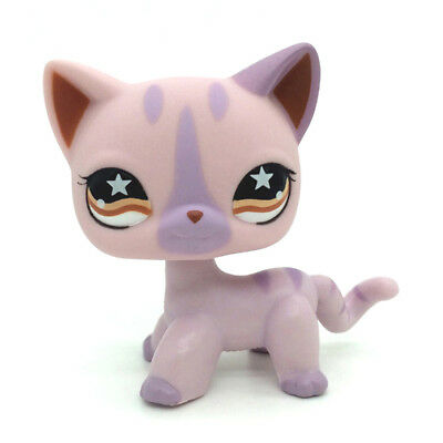 Hasbro Littlest Pet Shop Collection LPS Figure Loose Pink Purple Very Rare Cat