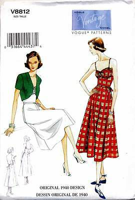 Vogue Sewing Pattern 8812 Misses 14-22 Retro Vintage '40 Dress & Fitted Bolero