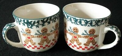 2 Tienshan Gingerbread Christmas Large Coffee Mugs Cups Soup Bowls