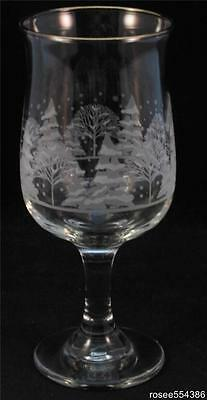 8 Arbys Christmas Winter White Frosted Pines Trees Tulip Goblets Glasses Libbey
