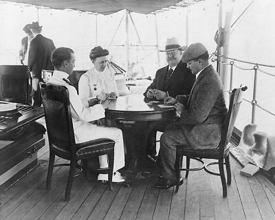 President Taft & Wife Playing Cards on Boat 8x10 Silver Halide Photo Print