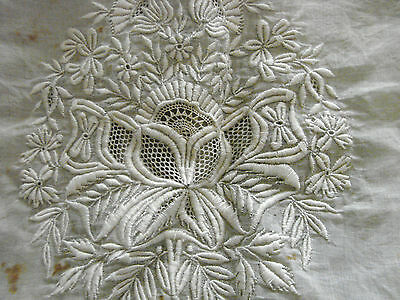 Vintage Antique Madiera Embroidery Panel 12x13 Cotton Lawn White