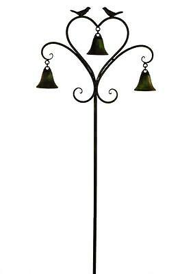 Antique Green Heart Birds & Bells Metal Wind Chime Garden Decor Ornament Spike