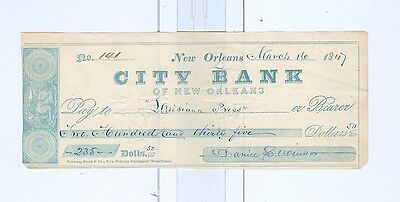 1847 City Bank of New Orleans Check