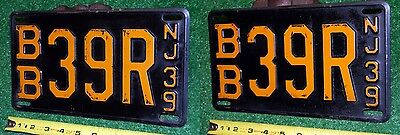 NEW JERSEY - Nice 1939 passenger MATCHED license plate set