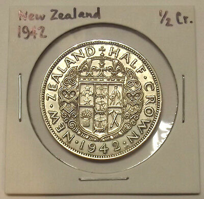 1942 NEW ZEALAND HALF CROWN (2sh6d) SILVER COIN