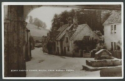 Castle Combe Wiltshire From Market Cross c1930s Sweetman Real Photo Postcard