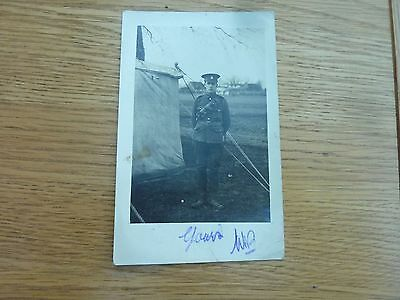 Ww1 1914 Original Photo Postcard Soldier In Canterbury Camp To Worthing